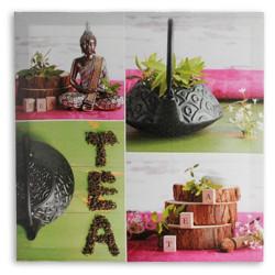 Cuadro Lino Buda Tea 50 x 50 Verde