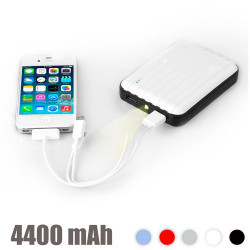 Power Bank con LED 4400 mAh Plata